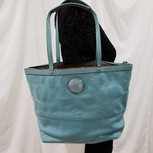 COACH Leather Tote | Baby blue | 14x10